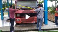 Pemasangan police line di area parkir dan Kantor Damkar Bengkulu Selatan (tempat BB ditemukan)