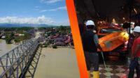 Situasi pascabanjir bandang di Luwu Utara (kiri), dan Tim SAR mengevakuasi korban banjir dan longsor di Sorong.