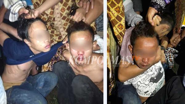 Tiga pemuda babak-belur dihajar massa setelah kedapatan menerabas masuk tanpa izin ke rumah mantan Kepala Desa Mela'o, Asmin, Minggu malam