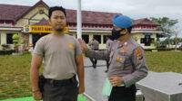 Unit Provos Polres Bangka Barat Polda Kepulauan Bangka Belitung (Babel) merazia pemakaian masker seluruh personel Polres setempat, Selasa pagi.
